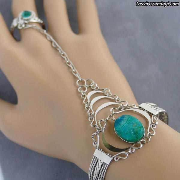 مدل دستبند انگشتری تمیمه نگین درشت