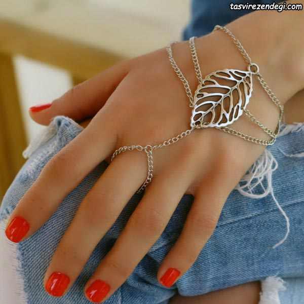 مدل دستبند انگشتری تمیمه طرح برگ