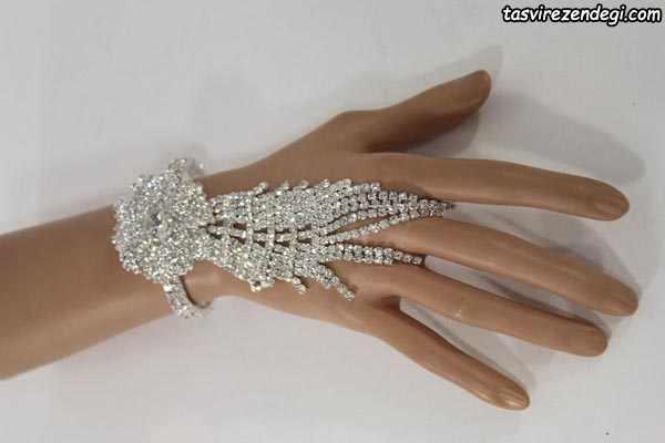 مدل دستبند انگشتری تمیمه گل و برگ
