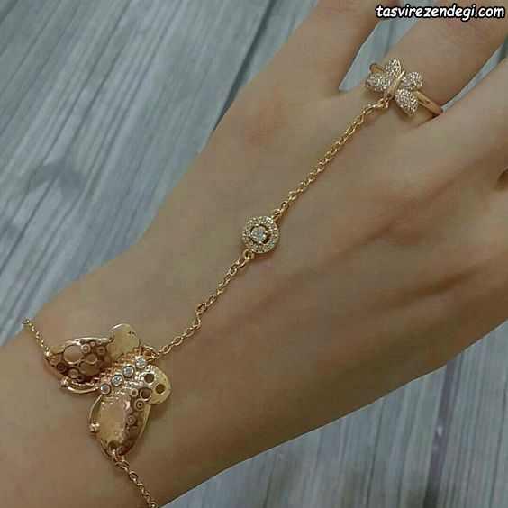 مدل دستبند انگشتری تمیمه جغد طلایی
