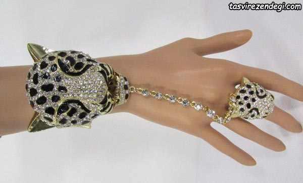 مدل دستبند انگشتری تمیمه پلنگ