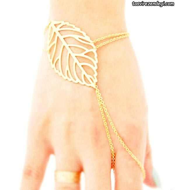 مدل دستبند انگشتری تمیمه طرح برگ و زنجیر