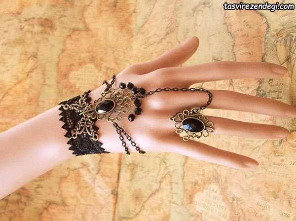 مدل دستبند انگشتری تمیمه گیپور مشکی