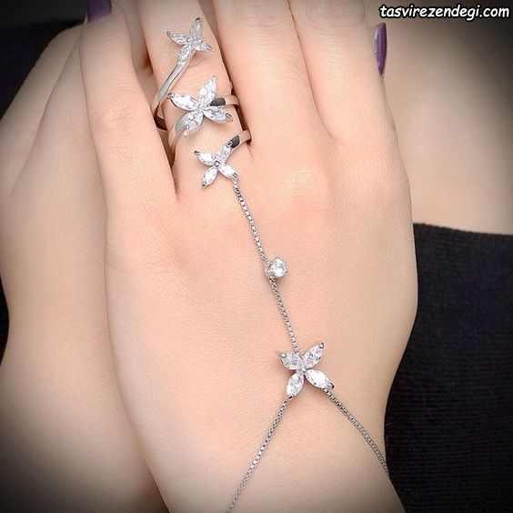 مدل دستبند انگشتری تمیمه پروانه ای