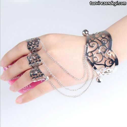 مدل دستبند انگشتری تمیمه نقره ای