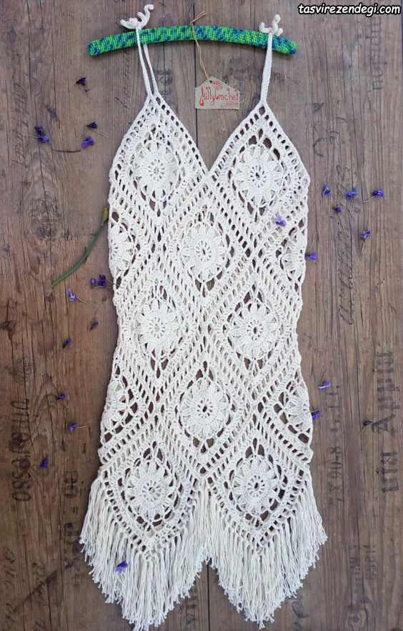 مدل تاپ قلاب بافی بلند دستباف