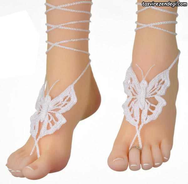 مدل پابند قلاب بافی طرح پروانه سفید