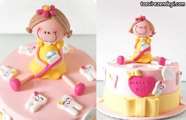 تزیین کیک جشن دندونی دخترانه