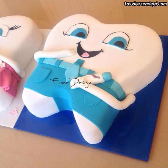 کیک جشن دندانی به شکل دندان