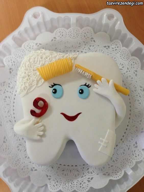 کیک جشن دندونی به شکل دندان