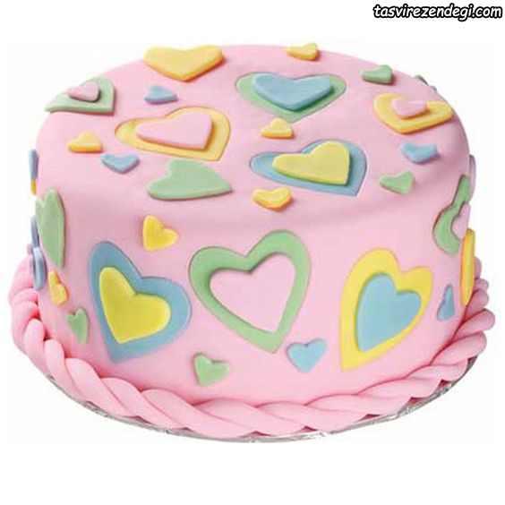 کیک روز دختر قلب رنگی