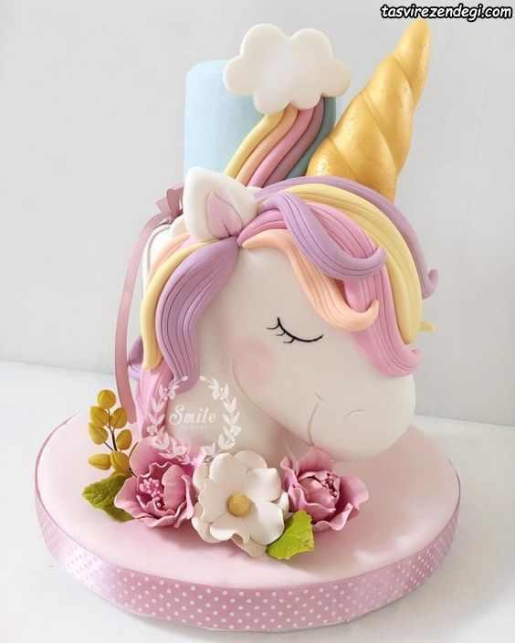 کیک روز دختر عروسکی اسب شاخدار