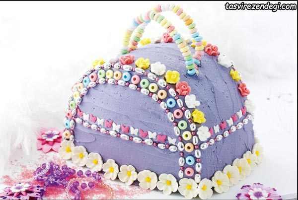 کیک روز دختر کیف بنفش