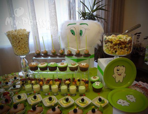 تزیین میز جشن دندانی تم سبز