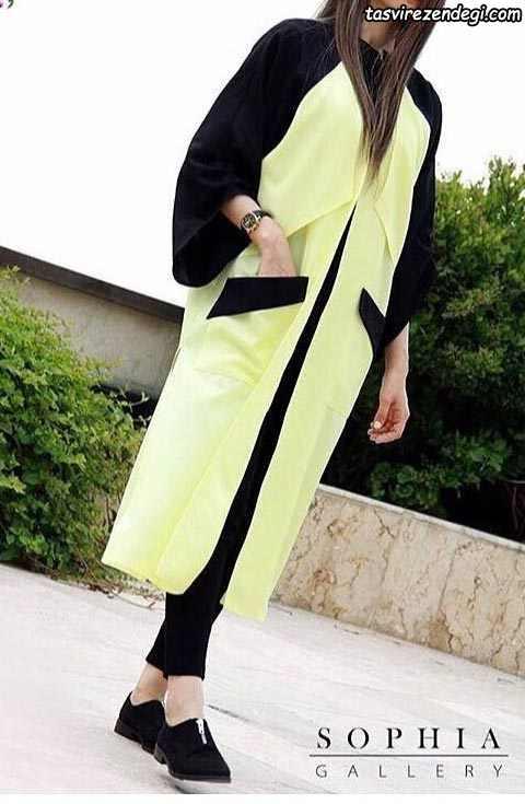 مدل مانتو تابستانی و نخی زرد و مشکی