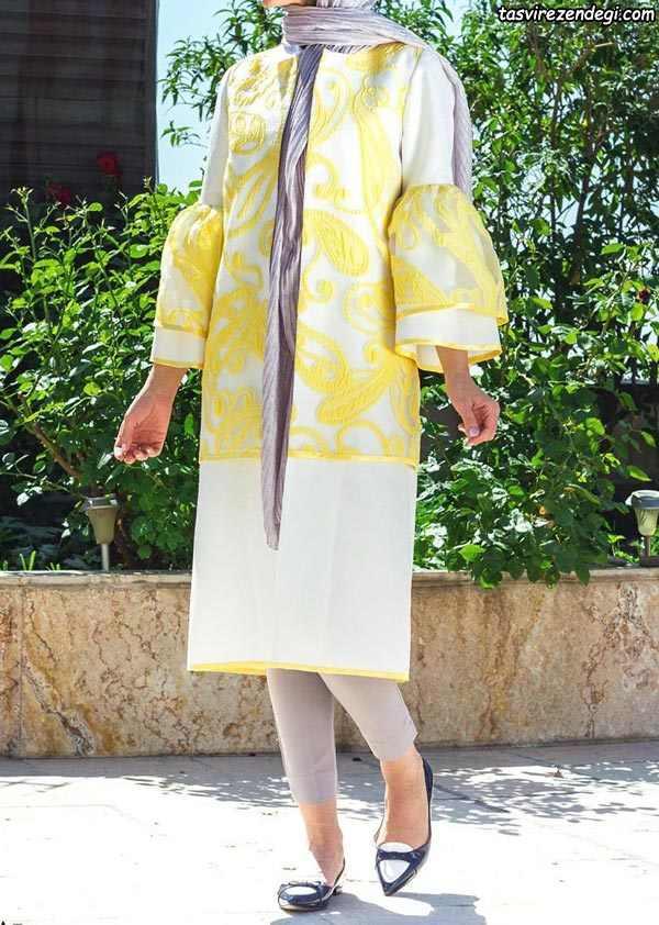 مدل مانتو تابستانی زرد و سفید نخی