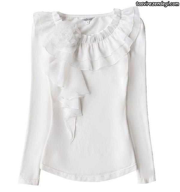 مدل بلوز حریر مجلسی سفید آستین بلند