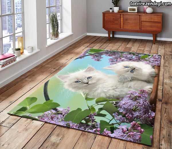 مدل کاور فرش روفرشی کشدار طرح سه بعدی