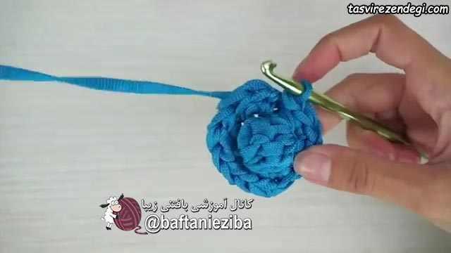 آموزش بافت کیف گرد گل بابونه قلاب بافی