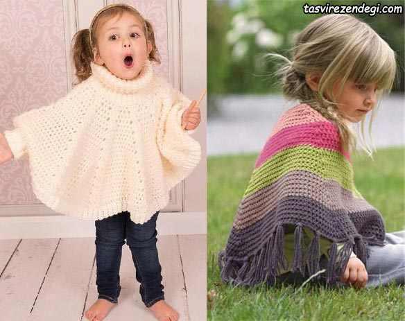 مدل شنل بافتنی بچه گانه دخترانه