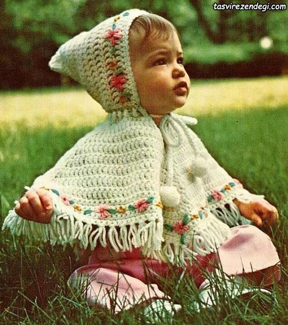 مدل شنل بافتنی بچه گانه قلاب بافی کلاه دار
