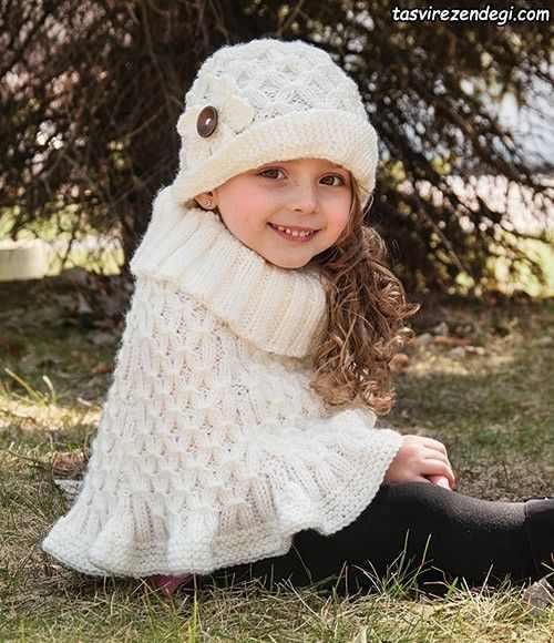 مدل شنل بافتنی بچه گانه میل بافی سفید