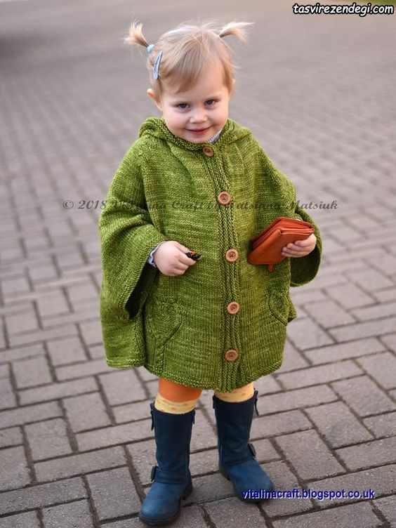 مدل شنل بافتنی بچه گانه میل بافی کلاه دار سبز