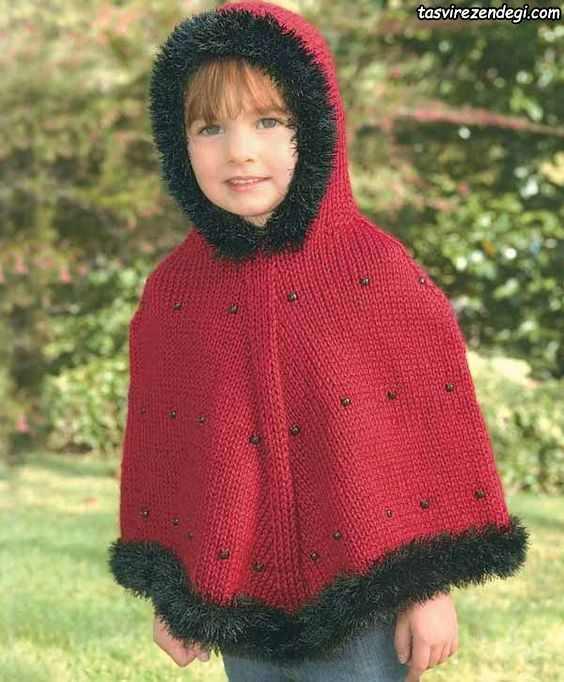 مدل شنل بافتنی بچه گانه میل بافی کلاه دار قرمز دخترانه