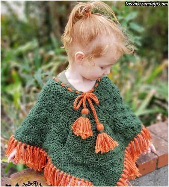 مدل شنل بافتنی بچه گانه دخترانه سبز و نارنجی