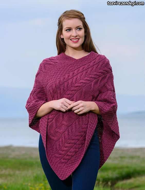 مدل شنل میل بافی زنانه پانچو دستباف سرخابی