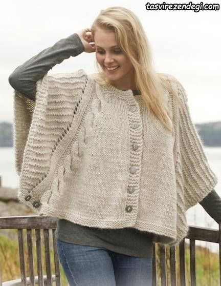 مدل شنل میل بافی زنانه پانچو دستباف