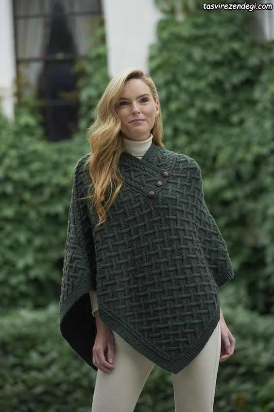 مدل شنل میل بافی زنانه پانچو دستباف سبز لجنی
