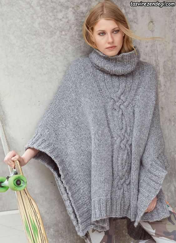 مدل شنل میل بافی زنانه پانچو دستباف طوسی