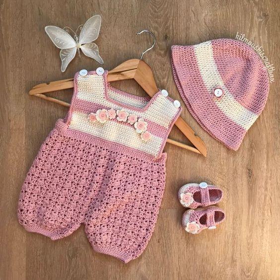 مدل رامپر بافتنی نوزادی بچگانه با کلاه