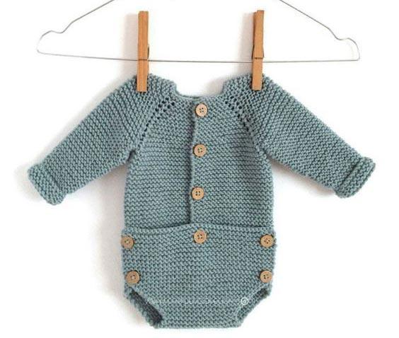 مدل رامپر بافتنی نوزادی بچگانه آستین دار