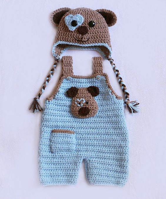 مدل رامپر بافتنی نوزادی بچگانه قلاب بافی عروسکی