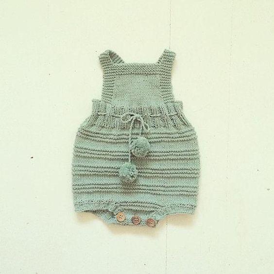 مدل رامپر بافتنی نوزادی بچگانه سبز