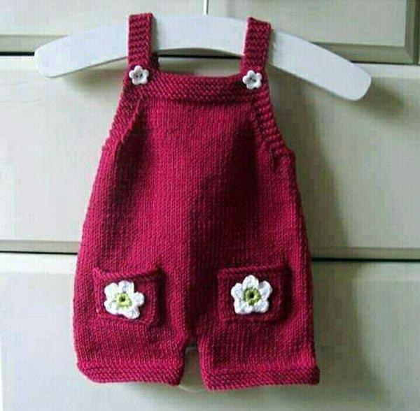 مدل رامپر بافتنی نوزادی بچگانه زرشکی