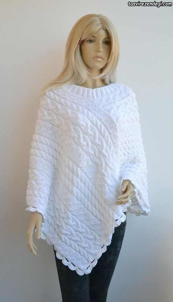 مدل شنل میل بافی زنانه پانچو دستباف سفید