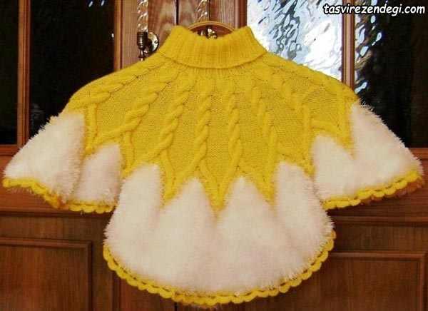 مدل شنل بافتنی دخترانه زرد