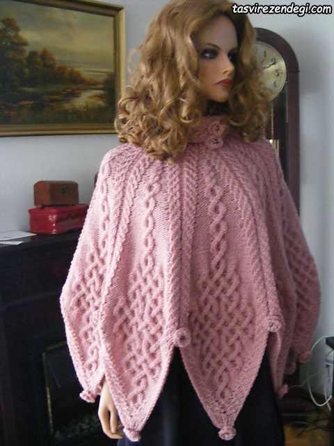 مدل شنل میل بافی زنانه پانچو دستباف صورتی