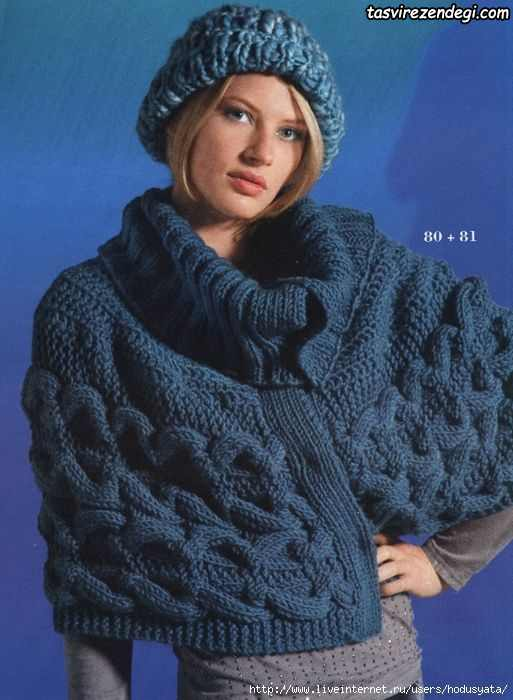 مدل شنل میل بافی زنانه پانچو دستباف آبی