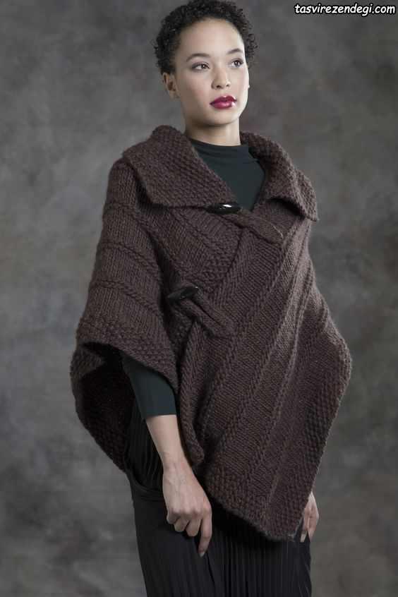 مدل شنل میل بافی زنانه پانچو دستباف قهوه ای تیره