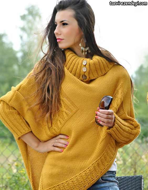 مدل شنل میل بافی زنانه خردلی رنگ