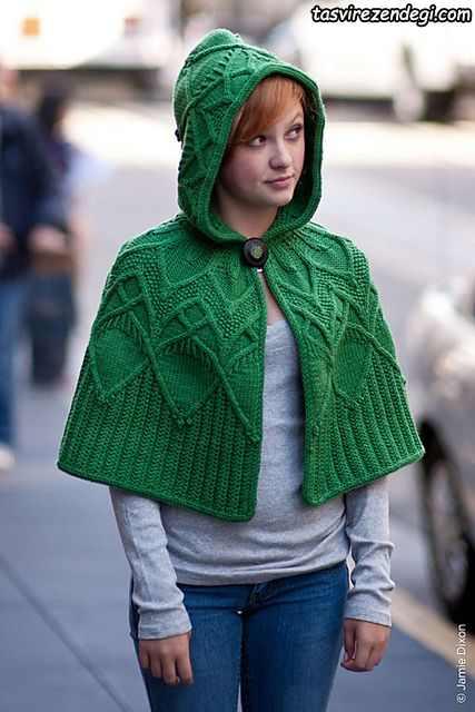 مدل شنل میل بافی زنانه پانچو دستباف سبز کلاه دار