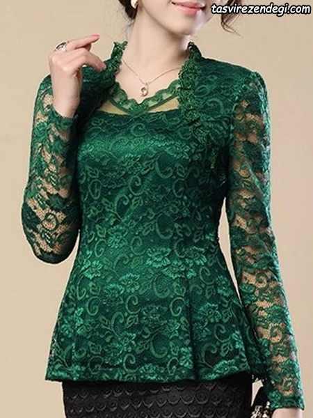 مدل بلوز دانتل مجلسی گیپور سبز