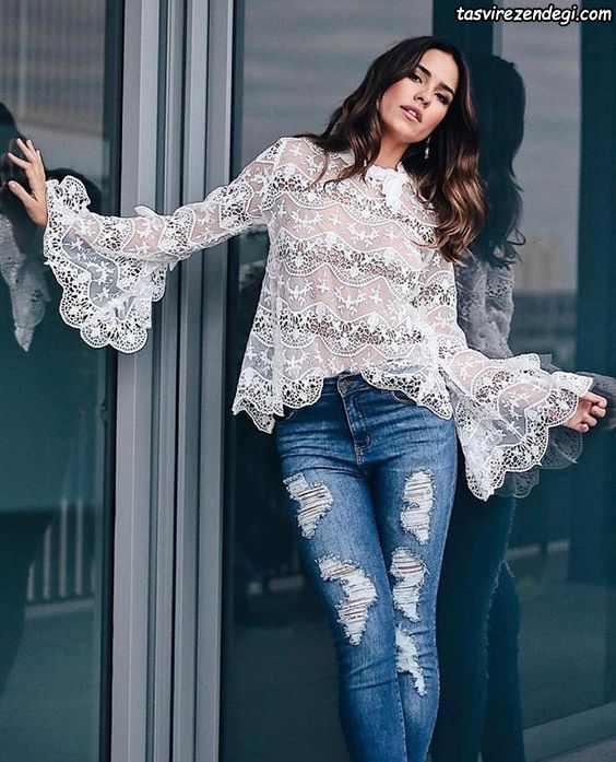 مدل بلوز دانتل مجلسی گیپور سفید