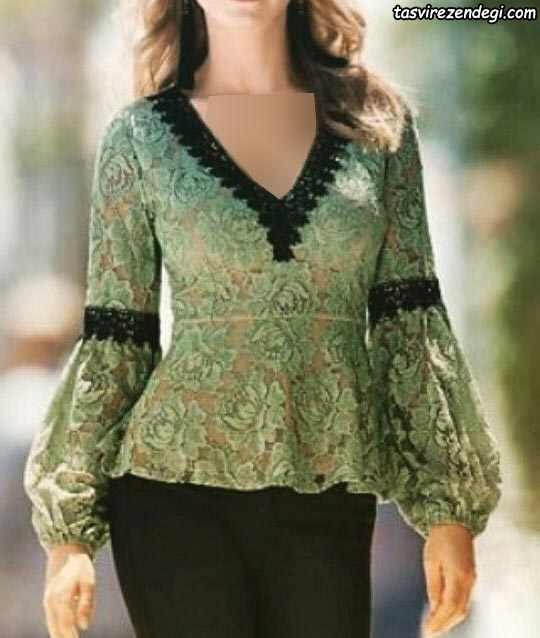 مدل بلوز دانتل مجلسی سبز زیتونی