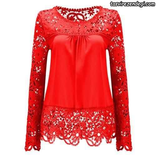 مدل بلوز دانتل مجلسی قرمز