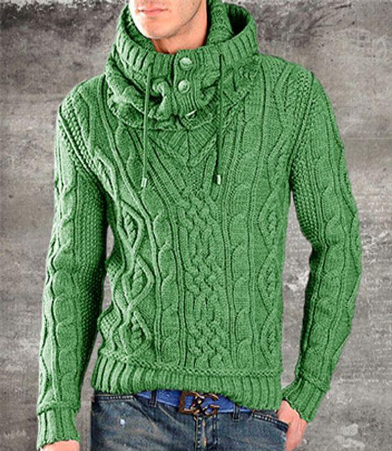 پلیور بافتنی پسرانه کلاه دار جلو بسته سبز